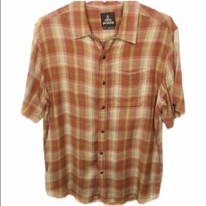 prAna Casual Plaid S/S Button Up Orange Green Med